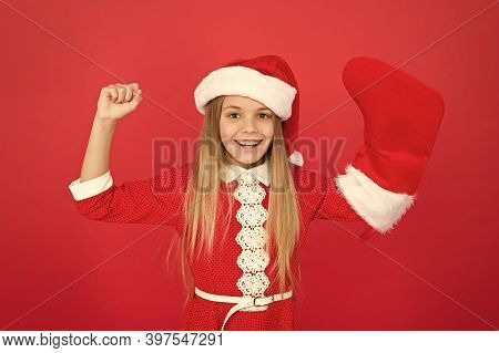 Power Of Xmas. Little Santa Flex Arms. Happy Child Show Strength. Small Girl Celebrate Xmas And New
