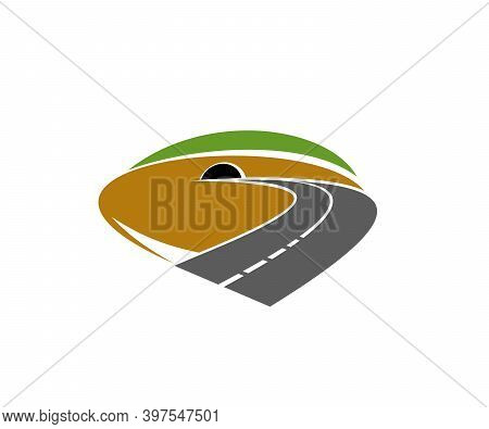 Freeway Path, Speed Road Going In Tunnel Icon. Highway, Motorway Or Mountain Backroad Turn In Tunnel