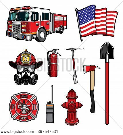 Firefighting Vector Icons Red Protective Helmet And Gas Mask, Fire Axe And Shovel, Extinguisher, Hyd