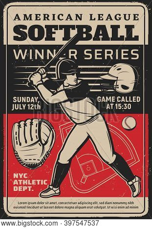 Softball Player At Sport Tournament Vintage Grunge Vector Flyer. Baseball Sportsman In Helmet With B