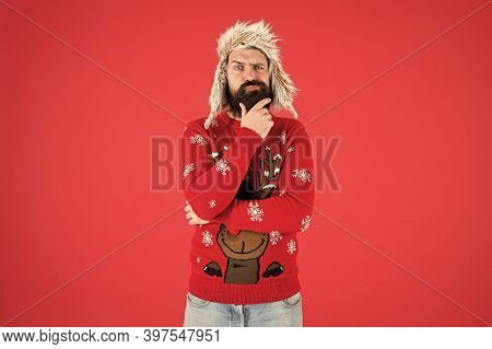 Hard Decision. Decision Making. Make Christmas Wish. Life Changing Decision. Hipster Bearded Man Wea