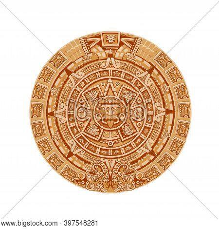Mayan Calendar Vector Ancient Mexican Round Stone With Hieroglyph Symbols. Aztec Culture, Religion A