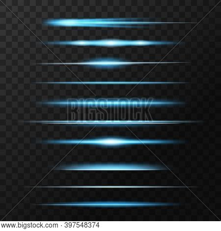 Light Flashes, Flare Or Sparkles, Glow Vector Lines. Blue And Neon Glowing Illumination Of Lens Or S