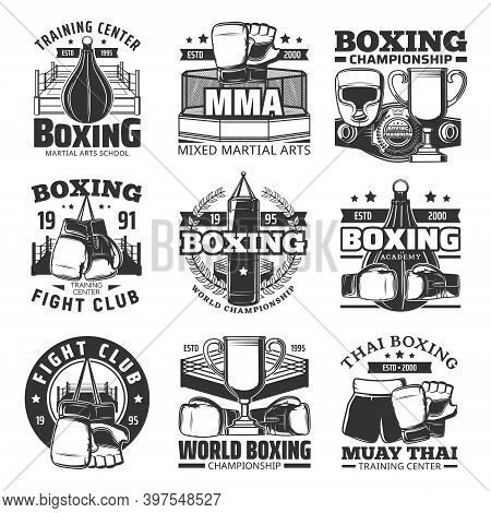 Boxing Muay Thai Single Combats Vector Icons. Thailand Kickboxing Martial Arts And Fighting Sport, M