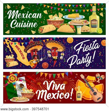 Mexican Cuisine Food And Cinco De Mayo Fiesta Party Pepper Mariachi Vector Banners Of Viva Mexico. C