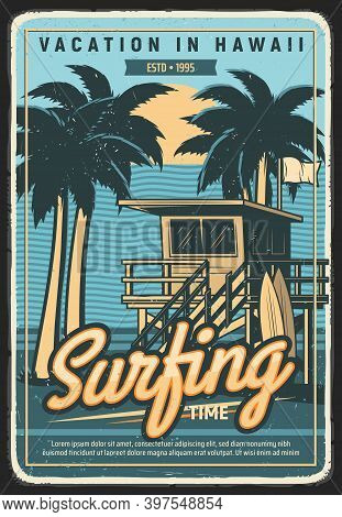 Hawaii Vacation Surfing Retro Poster. Ocean Safety Lifeguard Observation Tower On Beach, Palm Trees