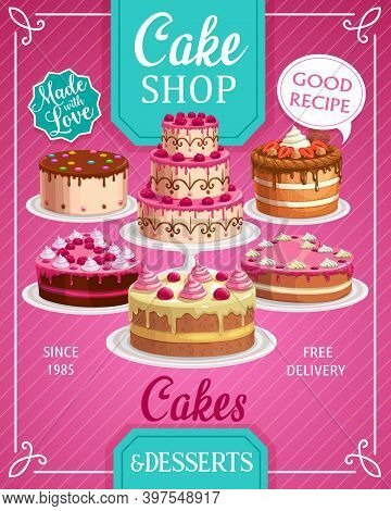Cakes Shop Vector Bakery, Sweet Confectionery Production Store, Pastry Bakery And Patisserie Pies. H