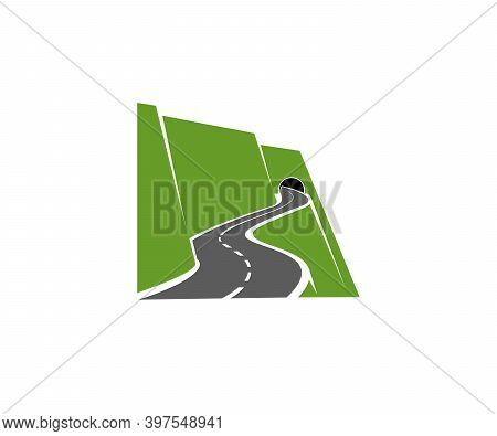 Winding Mountain Road Or Highway With Tunnel In Cliff Icon. Speed Freeway, Driveway Or Pathway On Si