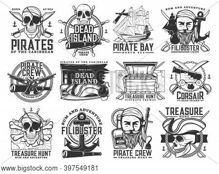 Pirate Icons, Vector Jolly Roger Skulls Or Skeleton Heads, Black Flag, Captain Tricorn Sailor Hat, C