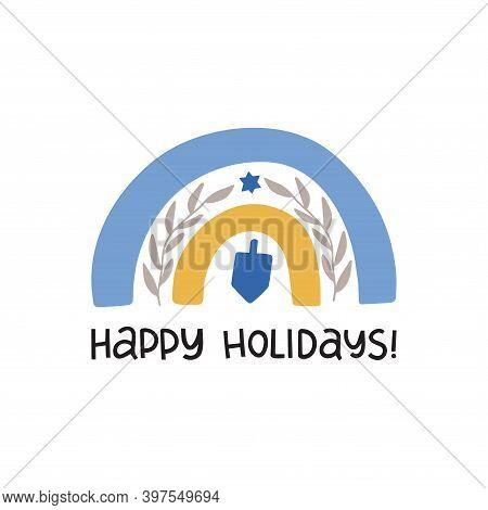 Hanukkah Vector Celebration Typography. Jewish Holiday Greeting Card. Happy Holidays Quote. Chanukah