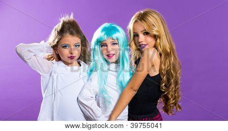 children group of fashiondoll friends fashion happy girls on purple