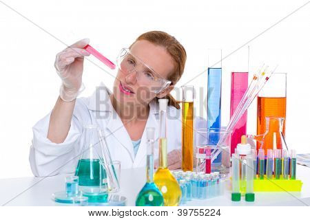 chemical laboratory scientist woman looking at test tube