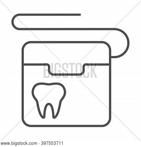 Dental Floss Thin Line Icon, International Dentist Day Concept, Floss To Clean Teeth Sign On White B