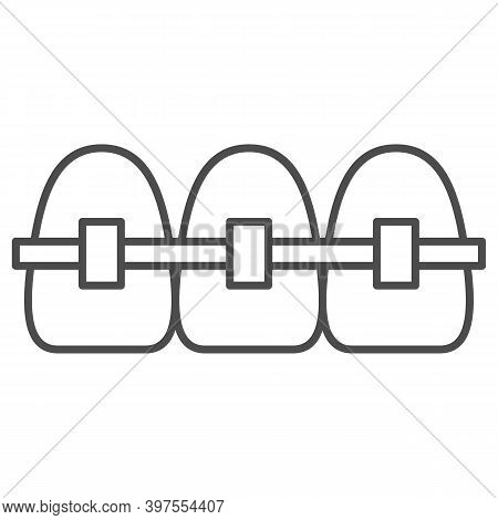 Braces Thin Line Icon, International Dentist Day Concept, Orthodontic Braces Sign On White Backgroun