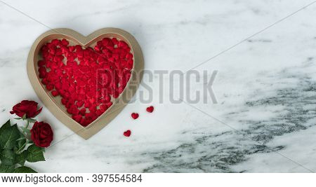 Happy Valentines Day With Lovely Red Rose Flowers Plus Large Heart Shaped Giftbox Filled With Small