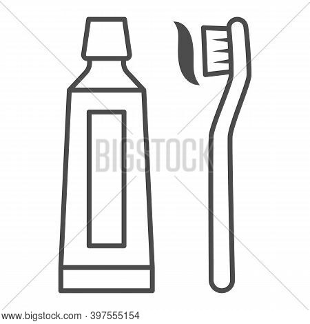 Toothpaste And Brush Thin Line Icon, International Dentist Day Concept, Hygiene Of The Mouth Sign On