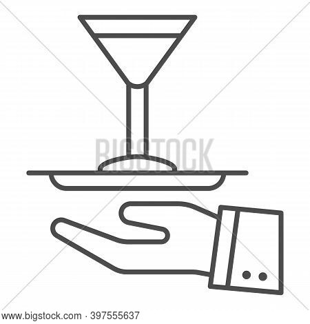 Cocktail On A Tray Thin Line Icon, Bartenders Day Concept, Serving Drink Sign On White Background, W