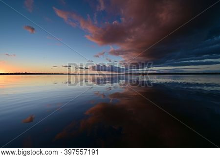 Colorful Sunset Cloudscape Reflected In Tranquil Coot Bay In Everglades National Park, Florida On Ca