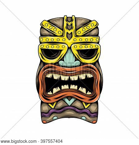 The Traditional Tiki Island Mask With The Gold Accent And The Mouth Opened