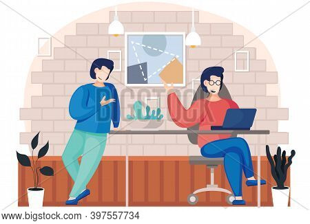 Men Are Working In Telecommuting. People In A Cafe Spending Time Together And Communicating. Employe