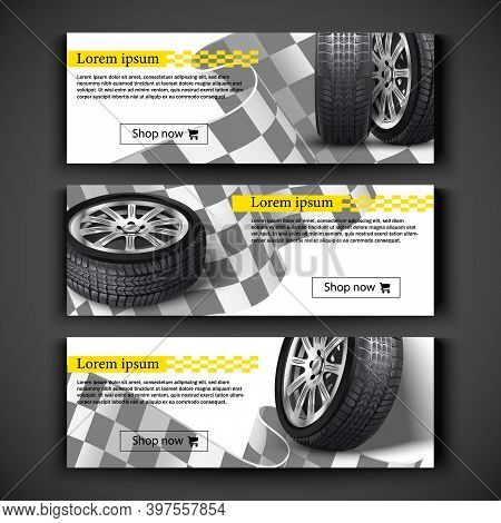Advertisement Posters For Your Business. Vector Realistic 3d Car Tires Illustration For Your Store O