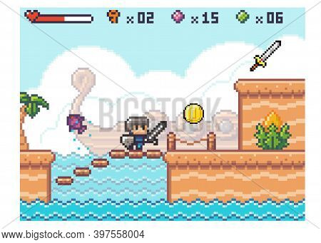 Pixel Computer Game Interface. Knight Wear Armor Is Climbing The Stairs. Way Through The Deep. Old 8