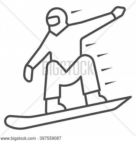 Snowboarder Thin Line Icon, World Snowboard Day Concept, Man Snowboarding Sign On White Background,