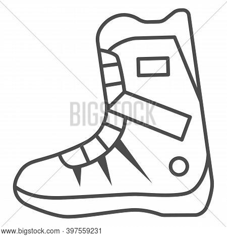 Snowboarder Boot Thin Line Icon, World Snowboard Day Concept, Sport Shoes Sign On White Background,