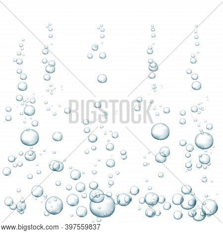 Blue Fizzy Bubbles. Sparkles Underwater Stream In Water, Sea, Aquarium. Fizzy Pop And Effervescent D