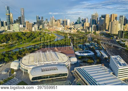 Melbourne, Australia - Nov 15, 2020: Aerial Photo Of Melbourne Park. It Is The Home Of The Australia
