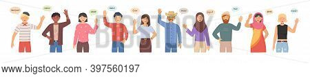 Multicultural Group Of People Say Hi. People Greeting Gesture. People Of Different Nationalities And