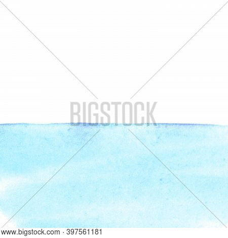 Abstract Water Surface, Sea, Reservoir, Snow Or Snowdrift. Blue Watercolor Background. Stain Blot Sp