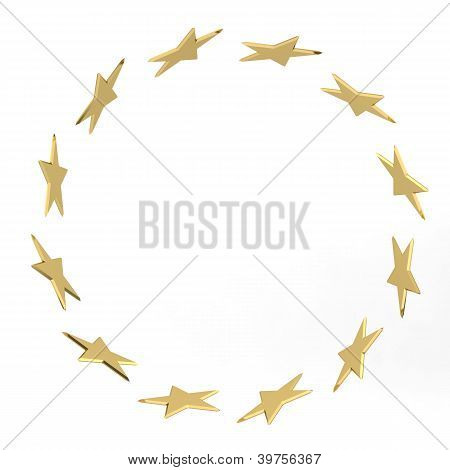 Abstract stars gold confetti frame isolated on white background poster