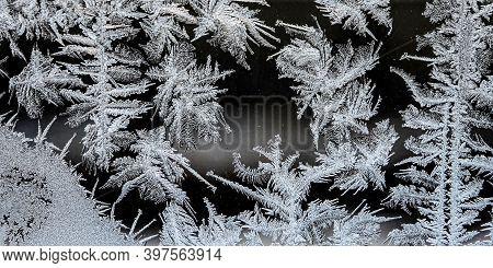 Beautiful Frosty Patterns On The Winter Window, Texture Of Frosty Patterns
