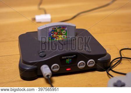 Super Mario Bros 64 In A Nintendo 64, A Popular Retro Video Game And Console