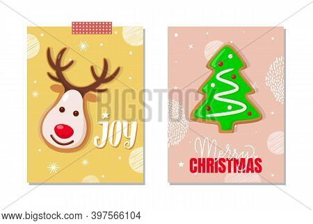 Jo And Merry Christmas Celebration Posters Set Vector. Reindeer With Horns, Pine Tree Cookie, Sweet