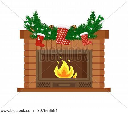 Fireplace Decorated For Christmas Holiday Vector. Pine Tree Branches With Needles And Snowflakes, So