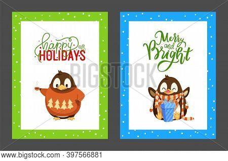 Merry Christmas Penguin Happy With Presents Posters Set With Greeting Text Vector. Animal Wearing Sw