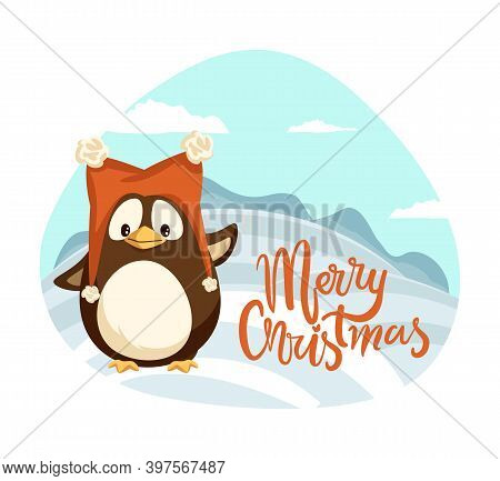 Merry Christmas Penguin Wearing Warm Hat Winter Holiday Vector. Landscape With Hills Covered By Snow
