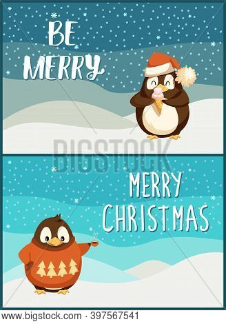 Merry Christmas Penguin Animal Wearing Clothes Knitted Sweater With Pine Evergreen Tree Print Vector