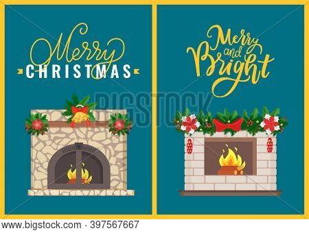 Merry Christmas Celebration Atmosphere Of Home Interior Vector. Fireplace Decorated With Branches Of