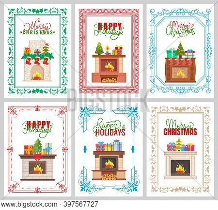 Happy Holidays, Merry Christmas Greeting With Adorned Chimney Vector. Fireplace With Burning Woods D