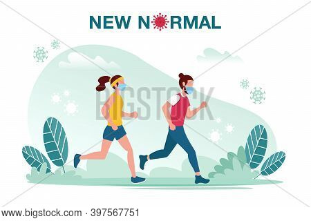New Normal Concept Illustration With Male And Female Jogging With Face Mask Prevention From Disease