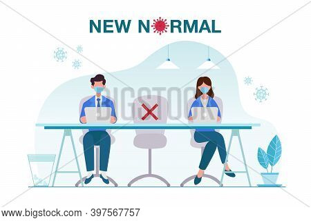 New Normal Concept Illustration With Office People Keep Distance From Each Other And Working With Fa