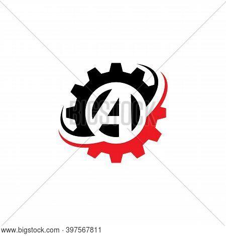 Letter A Gear Logo Design Template Machinery, Technology