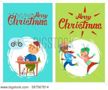 Merry Christmas Holidays Preparation, Letter To Santa Claus Vector In Brush Frame. Boys In Warm Wint