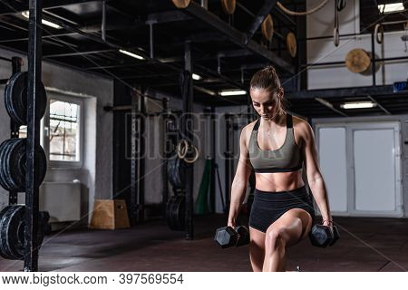 Young Strong Fit Muscular Sweaty Girl With Big Muscles Strength One Leg Squat Workout Training With