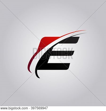 Initial E Letter Logo With Swoosh Colored Red And Black