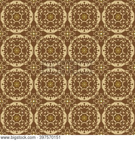 Cute Circle Motifs Design On Fabric Solo Batik With Smooth Mocca Color Concept.