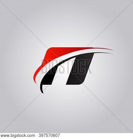 Initial N Letter Logo With Swoosh Colored Red And Black